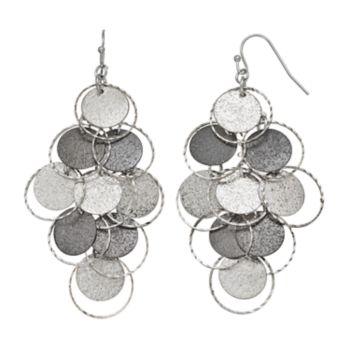 Mudd® Textured Disc Two Tone Nickel Free Kite Earrings