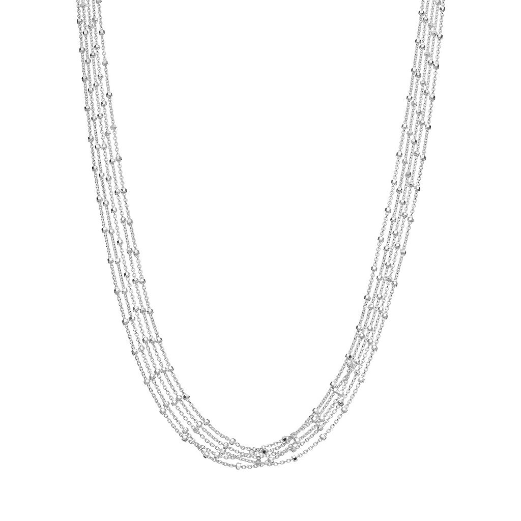 Sterling Silver Beaded Rolo Chain Multistrand Necklace