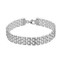 Sterling Silver Panther Link Bracelet