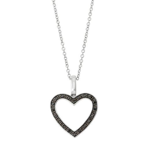 Sterling Silver 1/5 Carat T.W. Black & White Diamond Heart Pendant Necklace