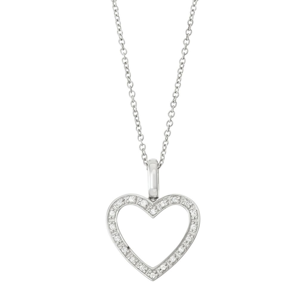 Sterling Silver 1/5 Carat T.W. Black & White Diamond Heart Pendant Necklace