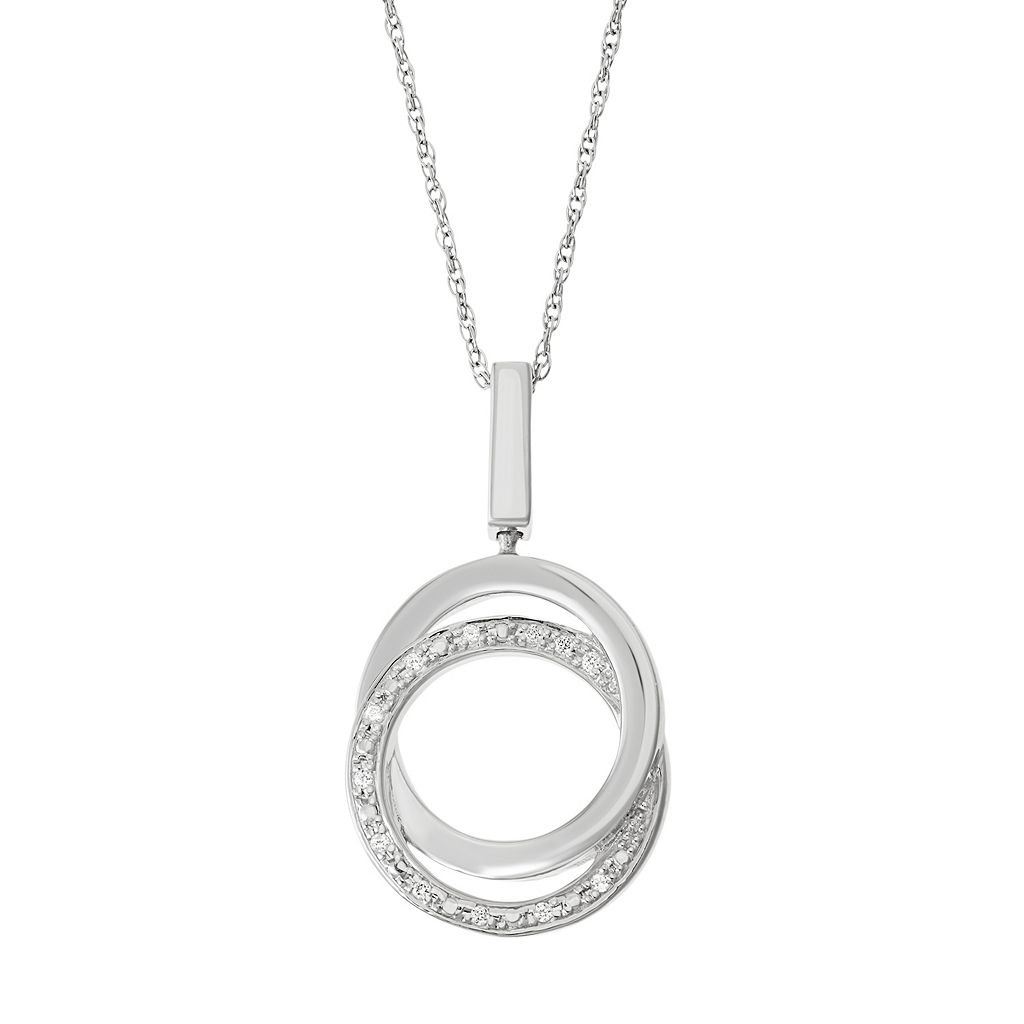 Sterling Silver 1/10 Carat T.W. Black & White Diamond Circle Pendant Necklace