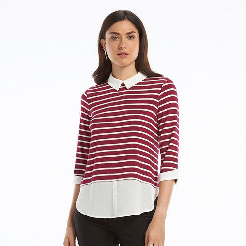 Women's ELLE™ Striped Mock Layer Top