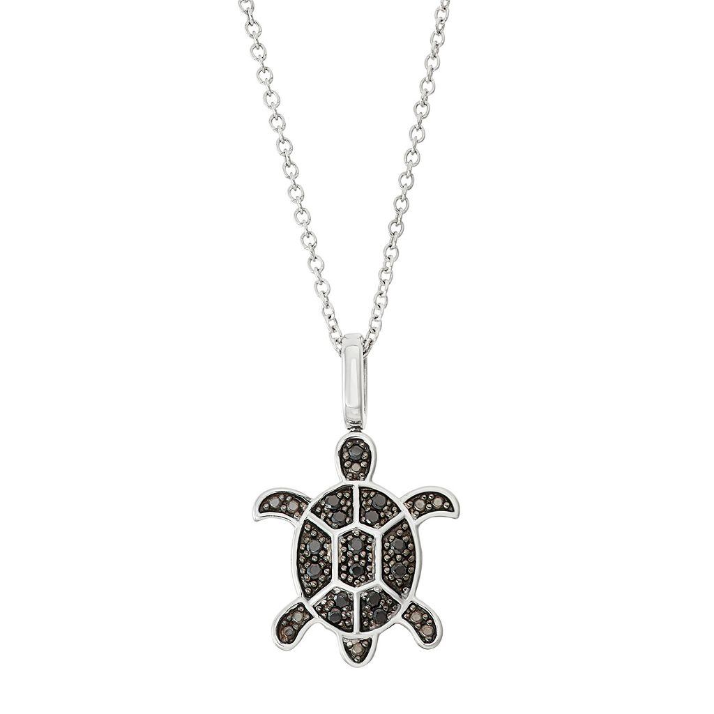 Sterling Silver 1/6 Carat T.W. Black & White Diamond Turtle Pendant Necklace