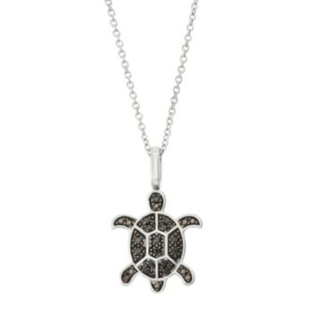 Sterling Silver 1/6 Carat T.W. Black & White Diamond Turtle Pendant Necklace