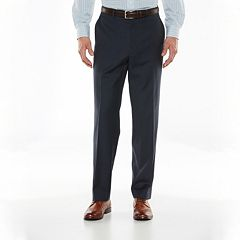 Big & Tall Chaps Classic-Fit Navy Wool-Blend Comfort Stretch Flat-Front Suit Pants