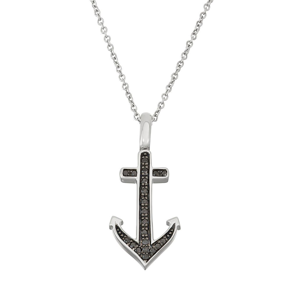 Sterling silver 15 carat tw black white diamond anchor pendant sterling silver 15 carat tw black white diamond anchor pendant necklace aloadofball Gallery