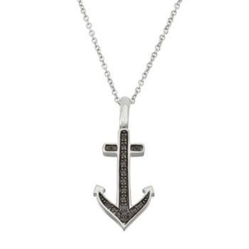 Sterling Silver 1/5 Carat T.W. Black & White Diamond Anchor Pendant Necklace