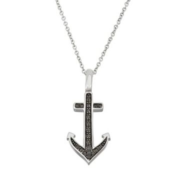 Sterling Silver 1/5 Carat T.W. Black & White Diamond Anchor Pendant Necklace