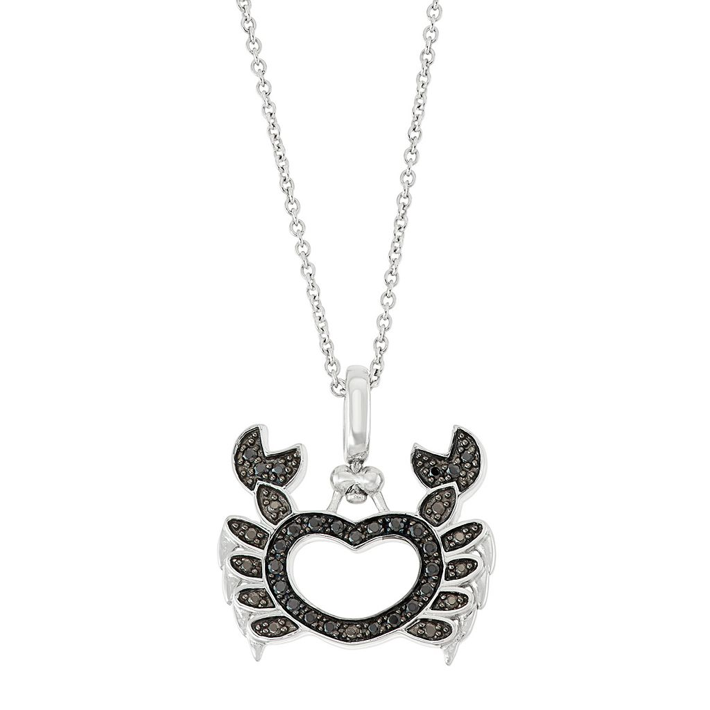 Sterling Silver 1/4 Carat T.W. Black & White Diamond Crab Pendant Necklace