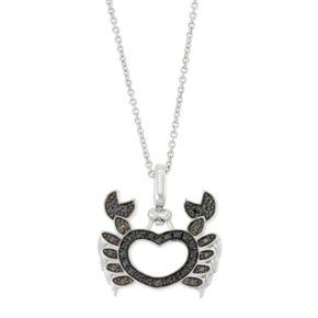 Sterling Silver 1/4 Carat T.W. Black & White Diamond Crab Pendant Necklace