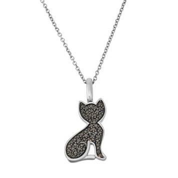 Sterling Silver 1/4 Carat T.W. Black & White Diamond Cat Pendant Necklace