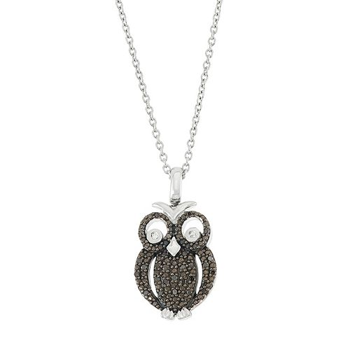 Sterling Silver 1/5 Carat T.W. Black & White Diamond Owl Pendant Necklace