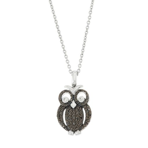 Sterling Silver 1/5 Carat T.W. Black & White Diamond Owl Pendant Necklace