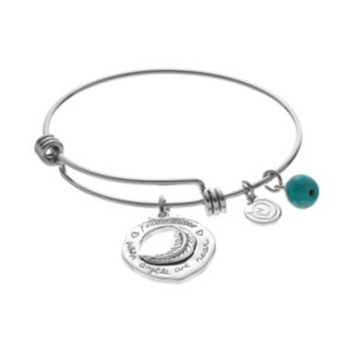 """love this lifeSimulated Turquoise """"Angels"""" Feather Disc Charm Bangle Bracelet"""