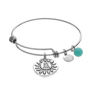 "love this life Amazonite ""UR My Sunshine"" Disc Charm Bangle Bracelet"
