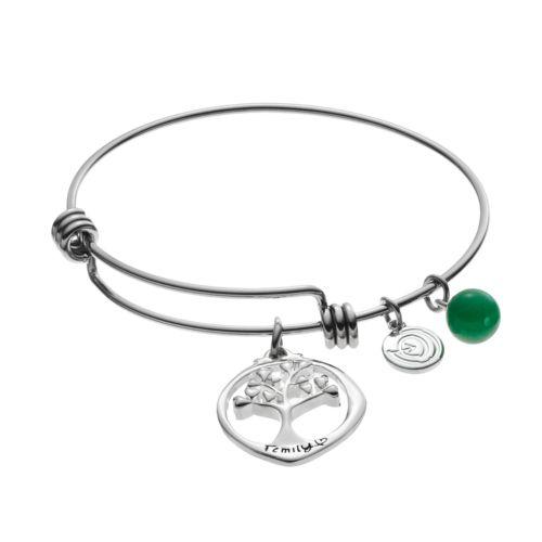 love this lifeAventurine Family Tree Disc Charm Bangle Bracelet