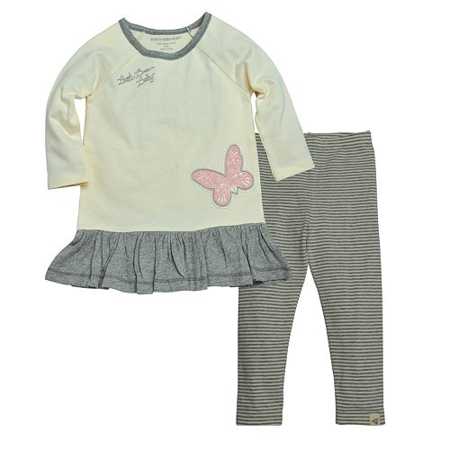 bef91a3aa Baby Girl Burt's Bees Baby Organic Butterfly Ruffle Dress & Leggings Set