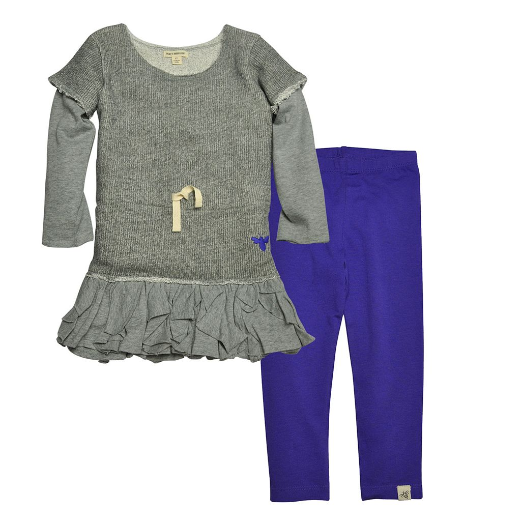 Toddler Girl Burt's Bees Baby Organic Mock-Layered Ruffled Dress & Leggings Set