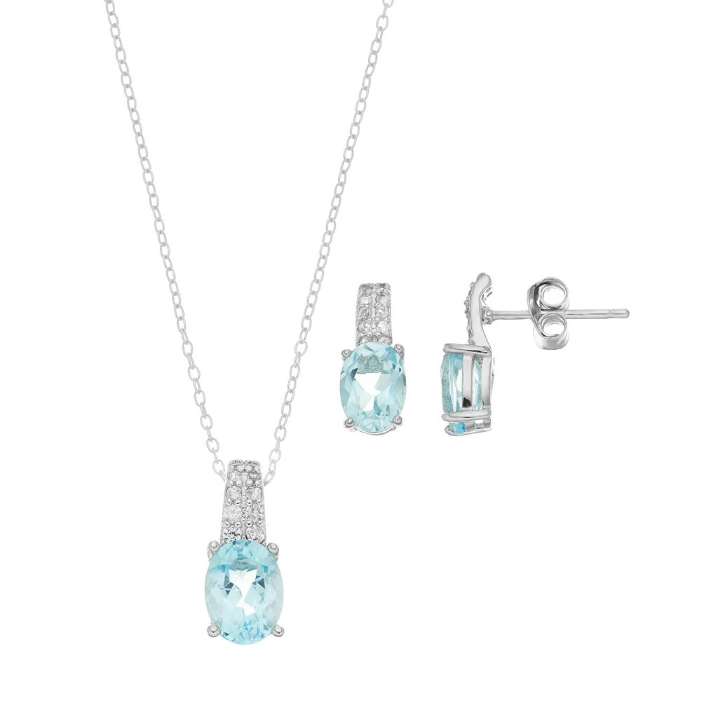 Sterling Silver Lab-Created Blue Topaz & Lab-Created White Sapphire Jewelry Set