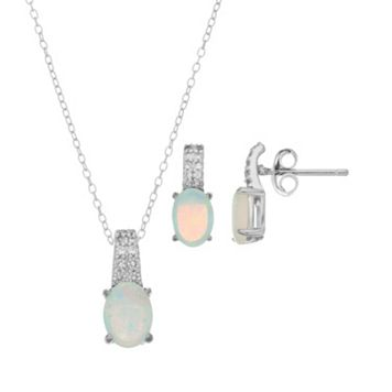 Sterling Silver Lab-Created White Opal & Lab-Created White Sapphire Jewelry Set