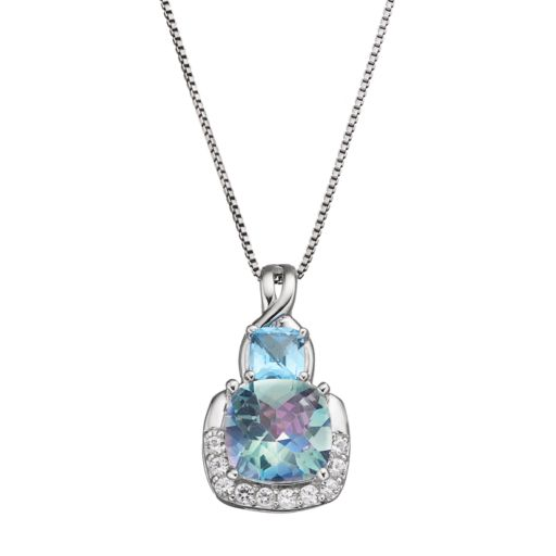 Sterling Silver Cassiopeia & Blue Topaz Pendant Necklace