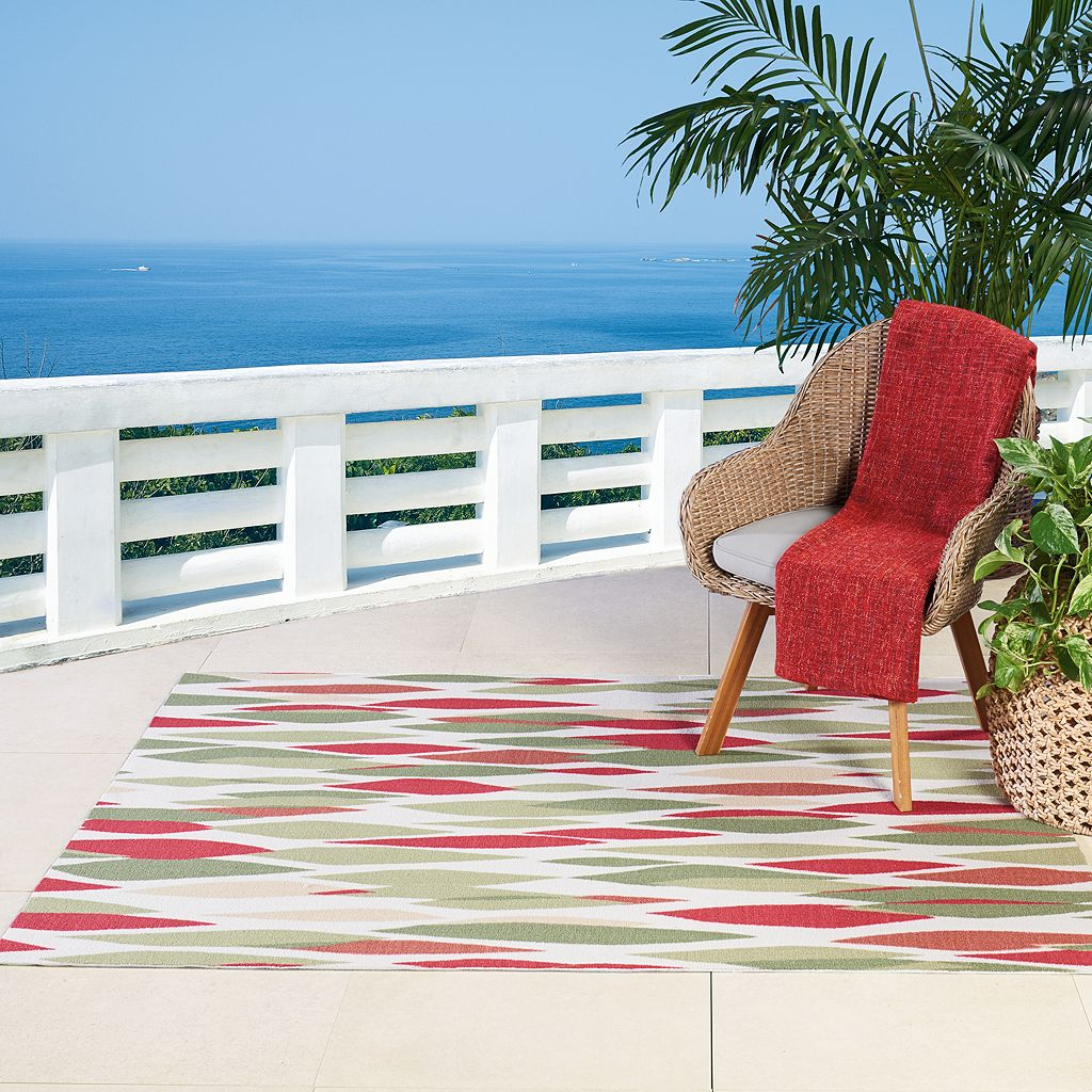 Waverly Sun N' Shade Abstract Geometric Indoor Outdoor Rug