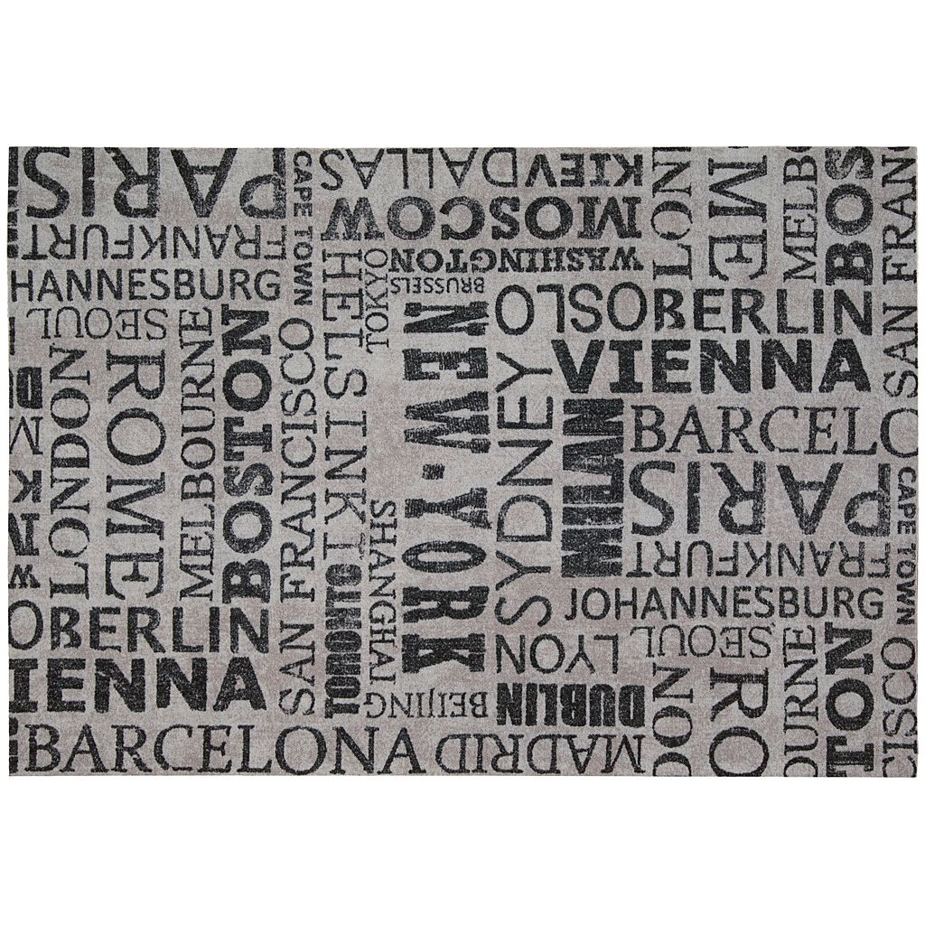 Waverly Sun N' Shade Printed City Words Indoor Outdoor Rug