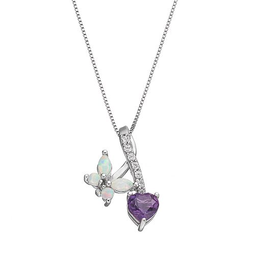 Sterling Silver Lab-Created Opal & Amethyst Butterfly & Heart Pendant Necklace