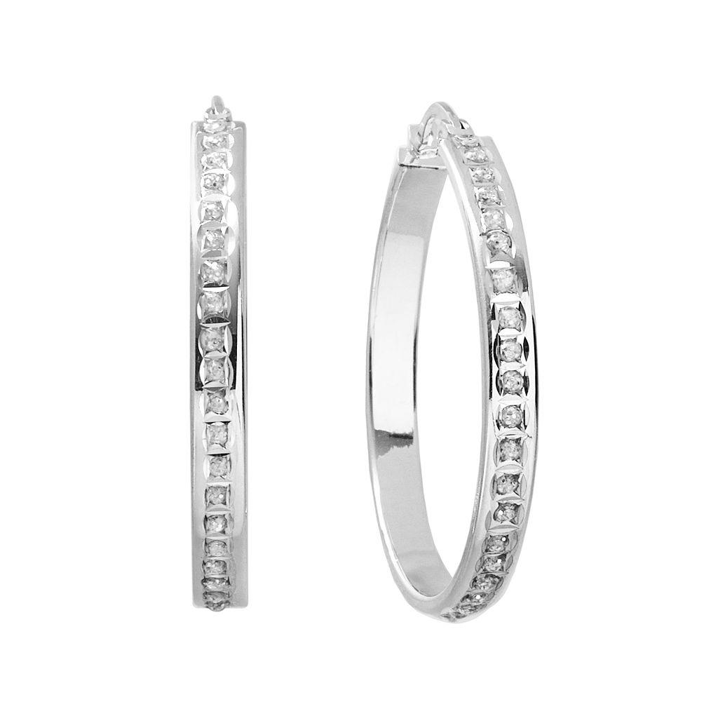 Diamond Mystique Platinum Over Silver Hoop Earrings
