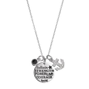 CHARMED BY DIAMONDS 1/10 Carat T.W. Diamond & Onyx Strength Charm Pendant