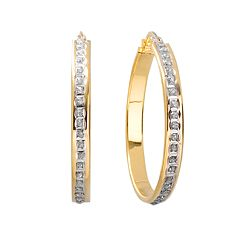 Diamond Mystique 18k Gold Over Silver Hoop Earrings