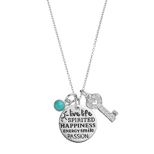 CHARMED BY DIAMONDS 1/10 Carat T.W. Diamond & Simulated Turquoise Spirited Charm Pendant