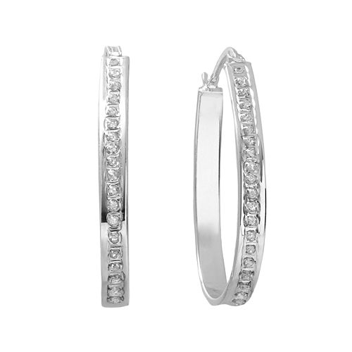 Diamond Mystique Platinum Over Silver Pear Hoop Earrings
