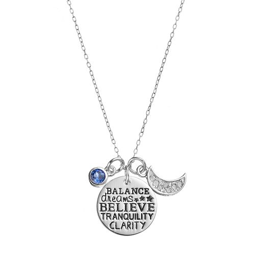 CHARMED BY DIAMONDS 1/10 Carat T.W. Diamond & Lab-Created Sapphire Believe Disc Pendant