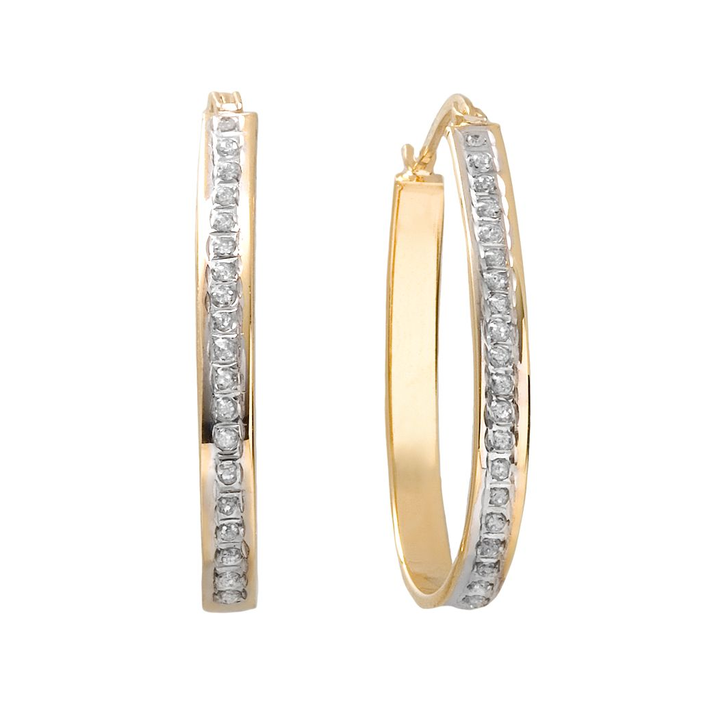 Diamond Mystique 18k Gold Over Silver Pear Hoop Earrings