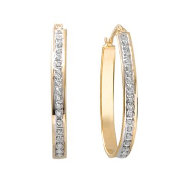 Diamond Mystique 18k Gold Over Silver Pear Hoop Earrings
