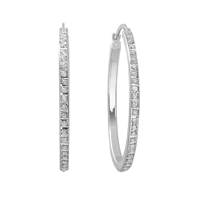 Diamond Mystique Platinum Over Silver Hoop Earrings, Women's, White