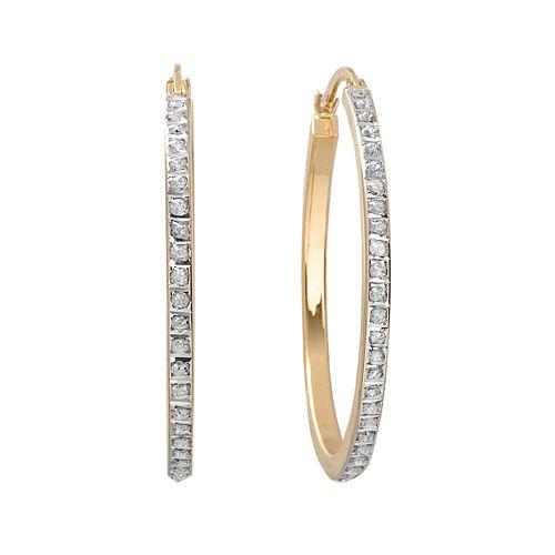 Diamond Mystique 18k Gold Over Silver Hoop Earrings