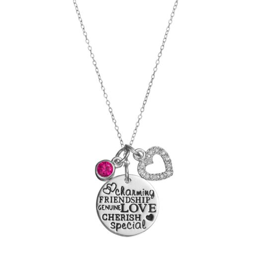 CHARMED BY DIAMONDS 1/10 Carat T.W. Diamond & Lab-Created Ruby Love Charm Pendant