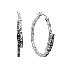 Diamond Mystique Platinum Over Silver Inside-Out Bypass Hoop Earrings