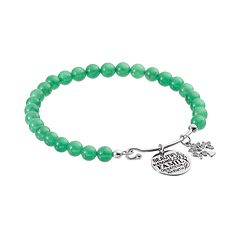 CHARMED BY DIAMONDS Aventurine Bead & 1/10 Carat T.W. Diamond Family Charm Bracelet