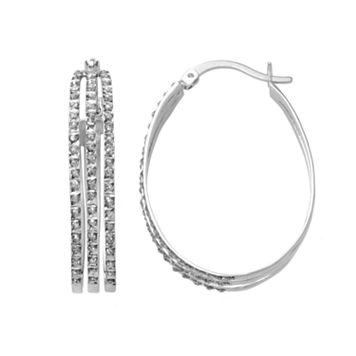 Diamond Mystique Platinum Over Silver Oval Hoop Earrings