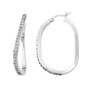 Diamond Mystique Platinum Over Silver Figure 8 Hoop Earrings