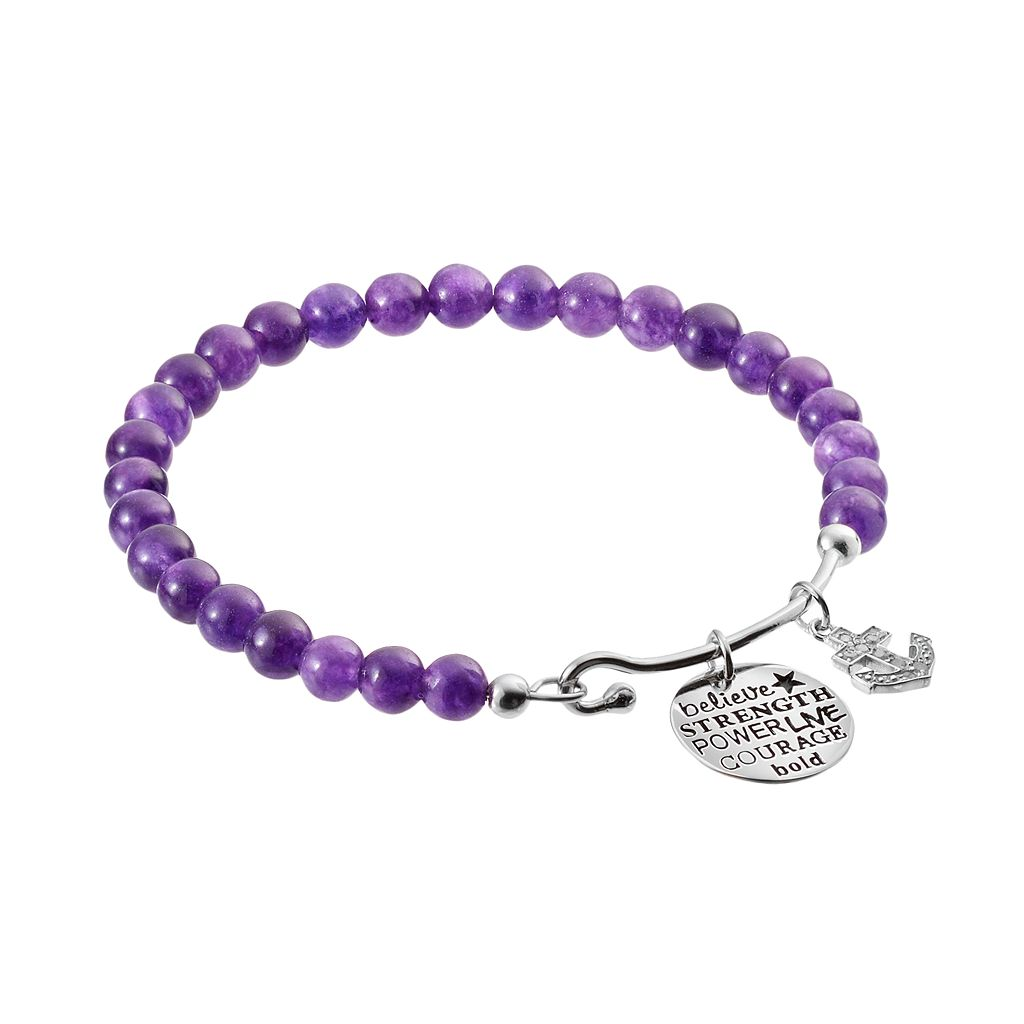 CHARMED BY DIAMONDS Amethyst Bead & 1/10 Carat T.W. Diamond Strength Charm Bracelet