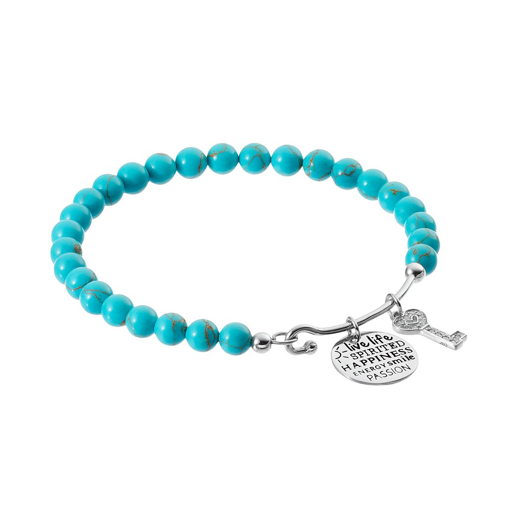 CHARMED BY DIAMONDS Simulated Turquoise Bead & 1/10 Carat T.W. Diamond Spirited Charm Bracelet