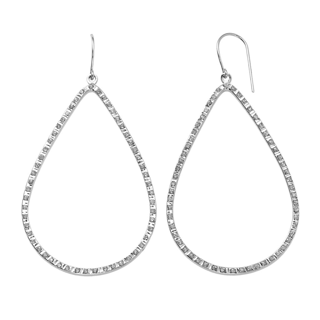 Diamond Mystique Platinum Over Silver Teardrop Earrings