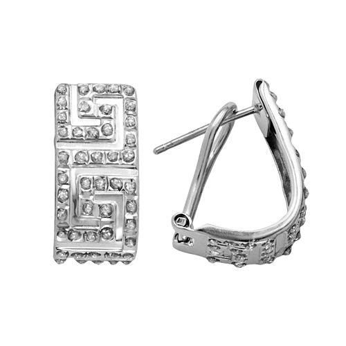 Diamond Mystique Platinum Over Silver Greek Key Hoop Earrings