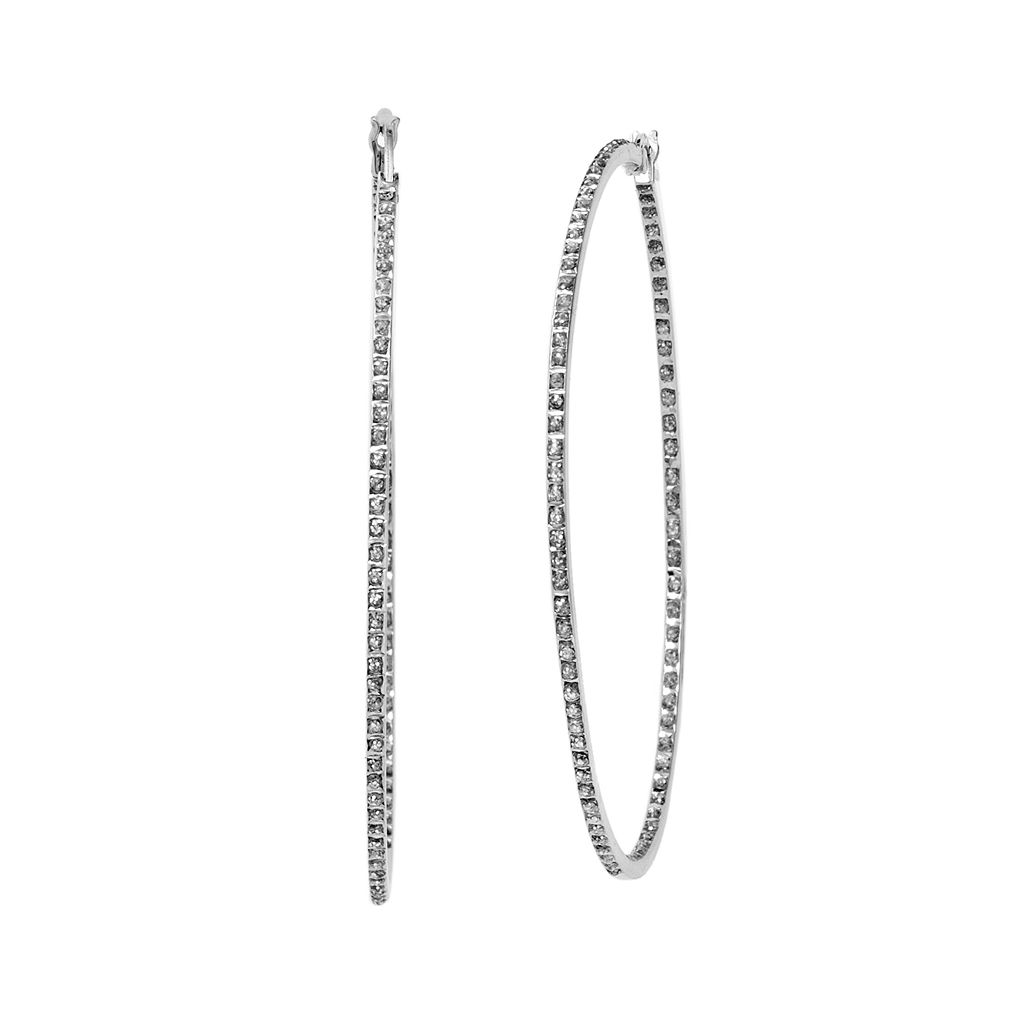 Diamond Mystique Platinum Over Silver Inside-Out Hoop Earrings