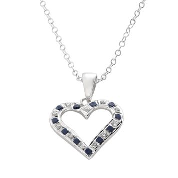 Diamond Mystique Sapphire Platinum Over Silver Heart Pendant Necklace